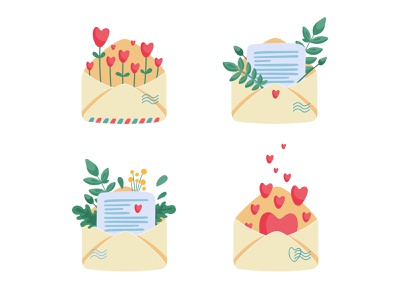 Sending love illustration flowers plants vector postcard post valentine day heart envelope love letter letter love