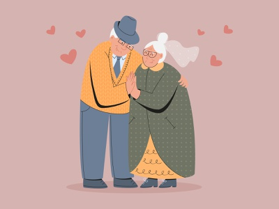 Love is for everyone character romantic elders old people anniversary vector couple love