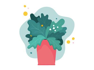 Magic plant potted plant flower magic garden pot plant flat vector