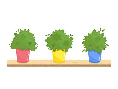 Cartoon pots herbs cartoon flowers plants potted plants vector