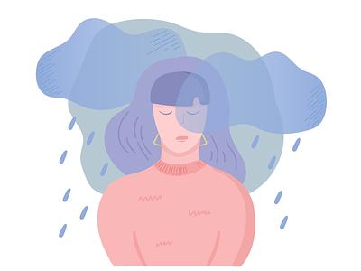 Fall girl rain sad depression fall autumn flat vector
