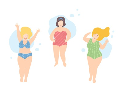 Love yourself and have fun! happy joy girls flat character vector love yourself beach body positive bopo