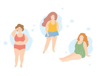 Body positive vector love yourself joy happy girls flat character bopo body positive