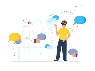 VR world communication social media vector flat virtual reality vr