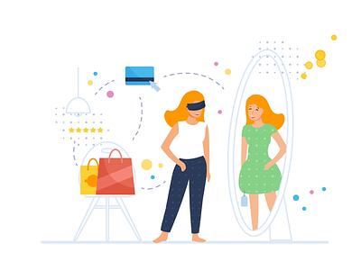 VR shopping vector flat fitting room shopping virtual reality vr