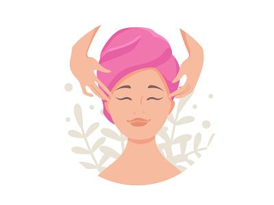 Face massage social media vector flat spa beauty avatar massage face massage