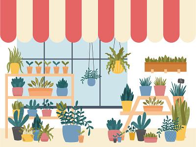 Flower shop house plant pots potted plant flower shop shop illustrator flowers garden plants vector flat