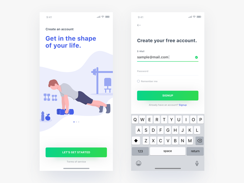 Fitness Signup Concept