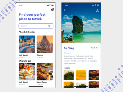 Travel & Tourism app landing page vector iphone x illustration user interface website mobile app clean dashboard ui