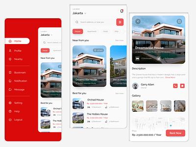 Home Rent App UI illustration design website user interface mobile app clean ux dashboard ui