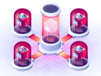 Improve Development Velocity coder hologram isometric illustration code data computer engineer development