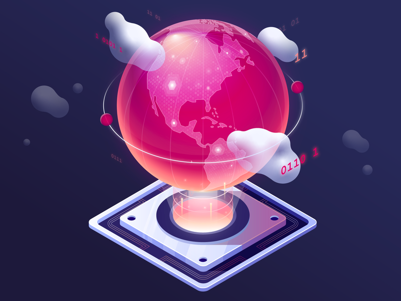 Global Reach globe illustration isometric cloud code