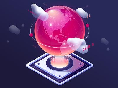 Global Reach globe illustration isometric cloud code
