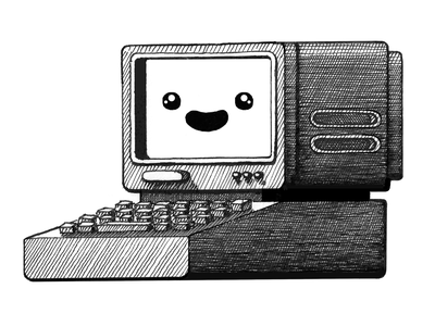 Coder Computer engineering development pen and ink pen illustration 90s retro computer