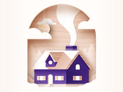 Landlord insurance – illustration exploration branding winter wood illustration house real-estate home insurance