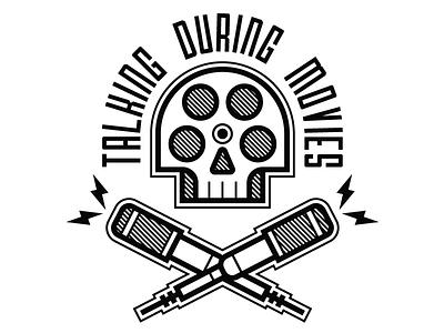 Talking During Movies –Concept 2 outline hatching design cinema white black movies branding podcast logo crossbones skull