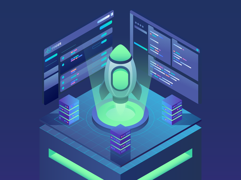 Sign Up Rocket technology computer explore space scifi science coder code motion gif animation illustration vector rocket isometric