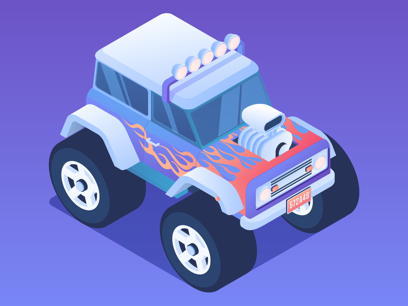 Monster Truck Isometric wheel tire vehicle car engine fire illustration suv jeep isometric bronco ford