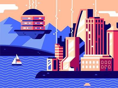 Server-Powered Development ocean lake water city computer illustration flat vector server