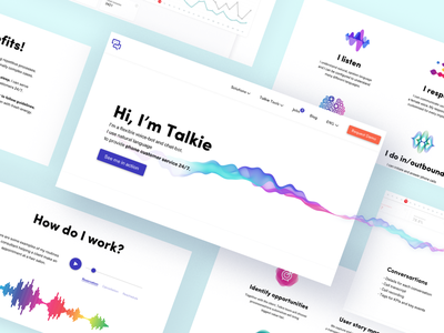 Talkie bot voicebot chatbot bot web design website landing design landingpage landing ui ux design