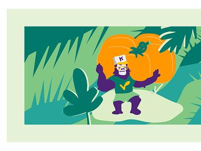 King Vegan - illustration #1 pumpkin gorilla brazil organic lounge vegan vector illustration flat vector branding art direction illustration