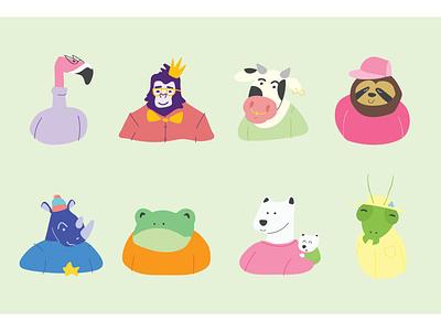 King Vegan - illustration #2 vegan mantis polar bear frog rhino sloth cow flamingo gorilla brazil vector illustration flat vector branding art direction illustration