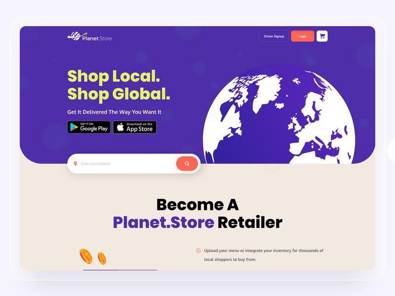 Plant Store Landing Page Design illustrator flat app website ui ux web design illustration branding