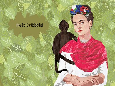 Hello Dribbble debut portrait woman frida design character painting digital drawing illustration kahlo