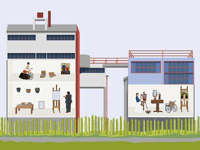 House-Studio of Diego Rivera and Frida Kahlo design charctar digitalart illustration fridakahlo