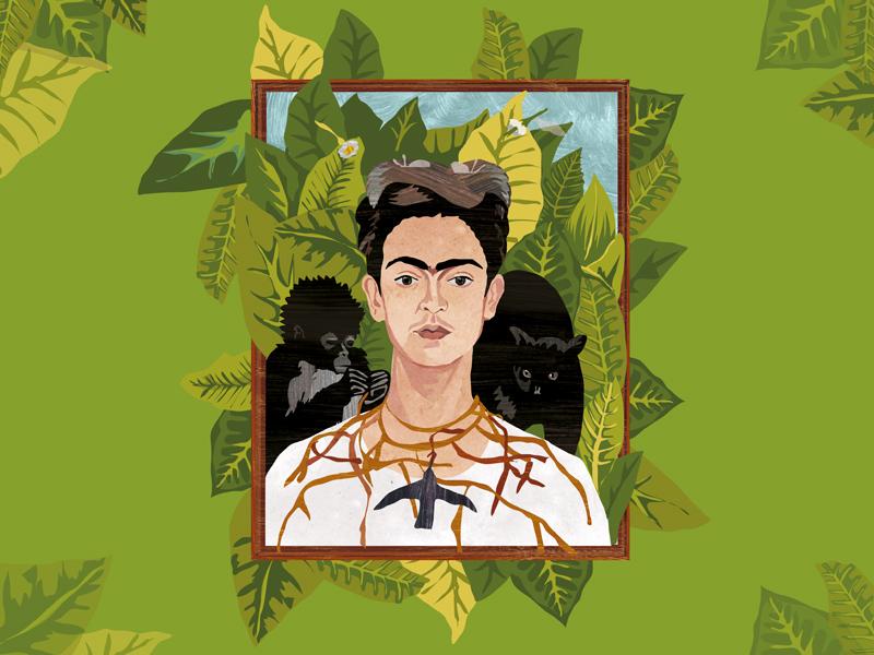 Frida Dribble2 woman portrait painting kahlo illustration frida drawing digital design character