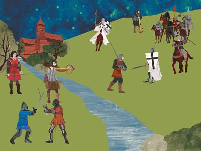 Olsztyn - the battlefield children ages middle kidsbook copernicus knight soldiers battlefield illustration