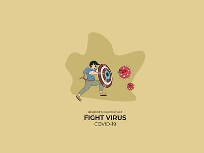 Fight virus poster poster art poster virus fight fighter covid19 coronavirus animation design illustration vector