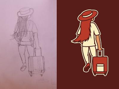girl_traveling_alone creative animation design vector illustration