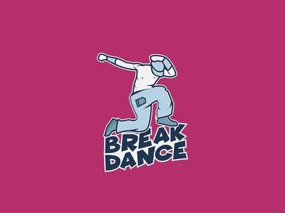 Break Dance Logo active action dancer logo dancer break dance poster branding logo web creative flat animation design vector illustration