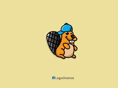 beaver illustrations cartoon funny beaver cap beaver creative design branding web logo creative flat animation design vector illustration