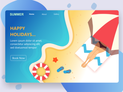 Landing Page holidays home page web website sea beach summer holidays holiday landing page header