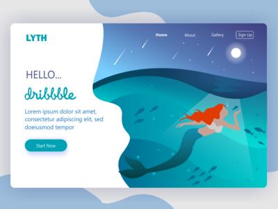 Landing Page Mermaid 2 header web header landing page graphic design site design web website landing page beach sea under water fish mermaid