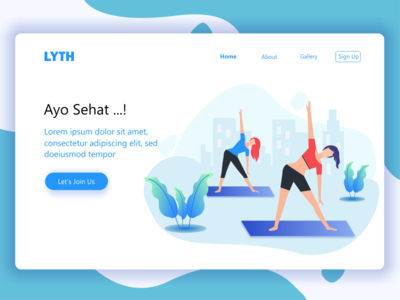 Landing Page design for yoga home page web website sea yoga walking healthy morning run holiday landing page header