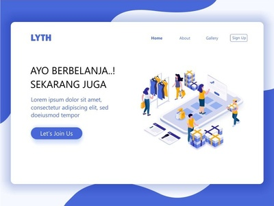 isometric Landing Page home page web website shopping shop store sale online shop delivery shipping landing page header clothes