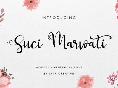 Suci Marwati logo wedding invitation classic logotype design calligraphy modern font font collection font design font