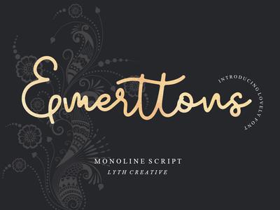 Emerttons font calligraphy font typography logo fashion wedding monoline font