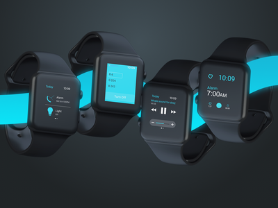 PESTANA for Apple Watch apple watch oled dark lights iot concept neon complications menu blue watch