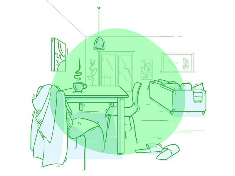 Living room illustration line home wall sofa chair lamp drawing sketch table interior room