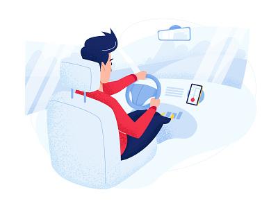 Car - app concept driving navigation car illustration character line vector app man red home comfort smartphone