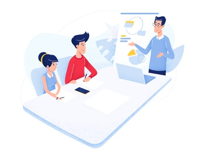 Meeting - app concept woman charts whiteboard notebook company meeting coach illustration character line vector app man red smartphone