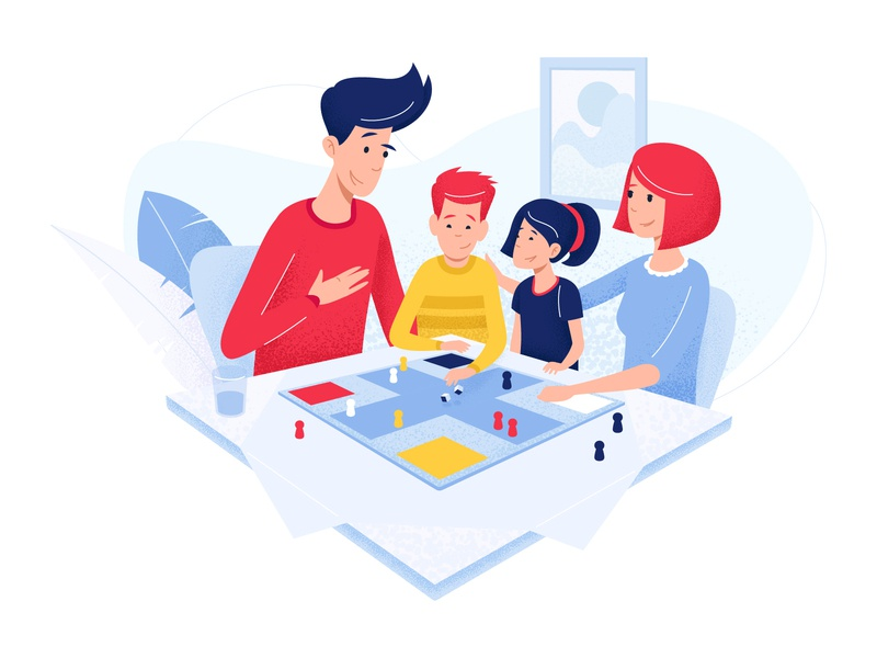 Family - app concept enjoy fun family people gameboard game kids illustration character line vector app man red chillout home comfort smartphone