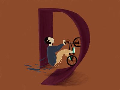36daysoftype_D 36daysoftype07 36dayoftype extreme sports boy bmx biker letter type graphicdesign illustrations character typography design illustration 2d