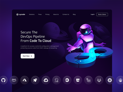 Cycode   Landing Page devs devops pipeline cloud code repositories apps services dark mode galaxy illutration astronaut moon space homepage hero section landing page security cyber