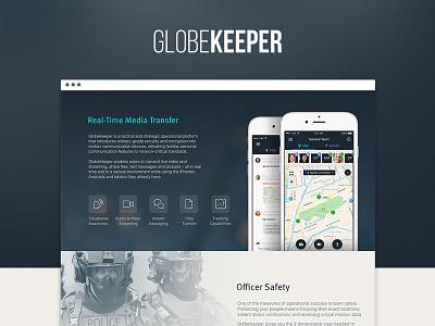 GlobeKeeper   Landing Page iphone secure mobile app landing page web globekeeper