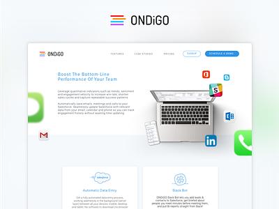 ONDiGO   Landing Page big data sales branding bot slack macbook salesforce landing page web ondigo